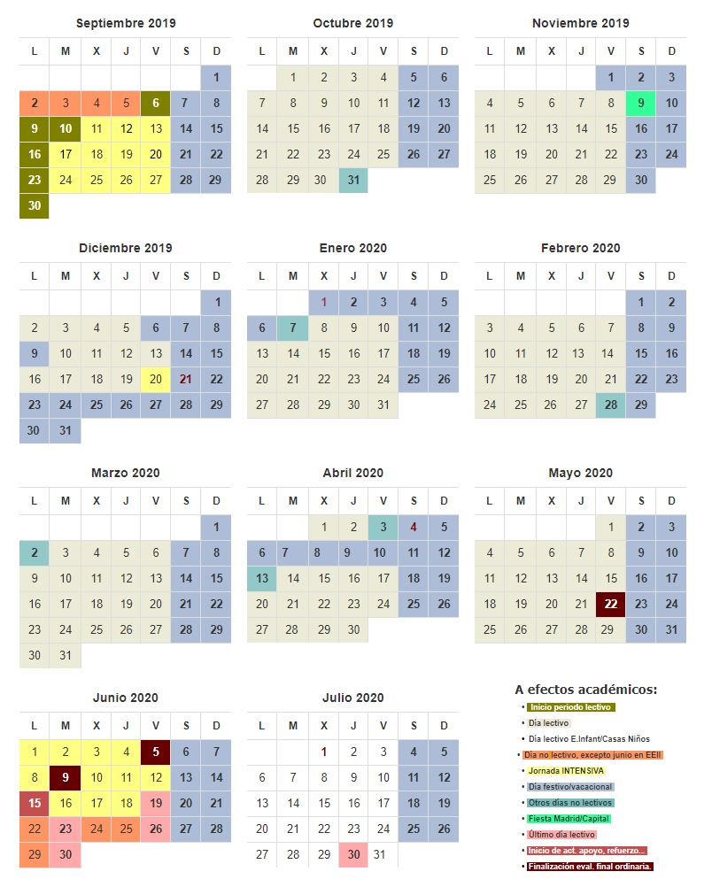 calendario escolar 2019 2020 CAM